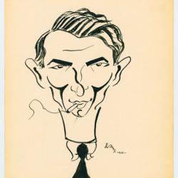 Izrael Aljuche Orenbach. Autokarykatura. Źródło: Muzeum Holokaustu w Waszyngtonie