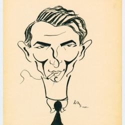 Self-Caricature of Izrael Aljuche Orenbach. United States Holocaust Memorial Museum. Edith Brandon Collection.