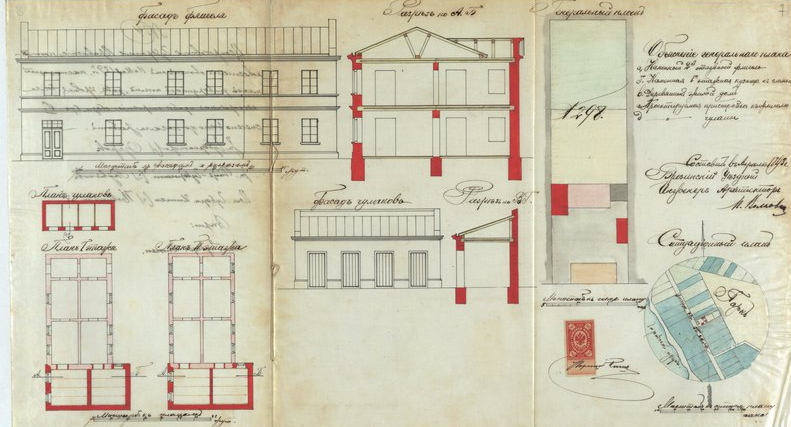 Projekt budowy oficyny przez Maurycego Piescha, rok 1893, Archiwum Państwowe w Łodzi, sygn. 39/1/0/4/3000